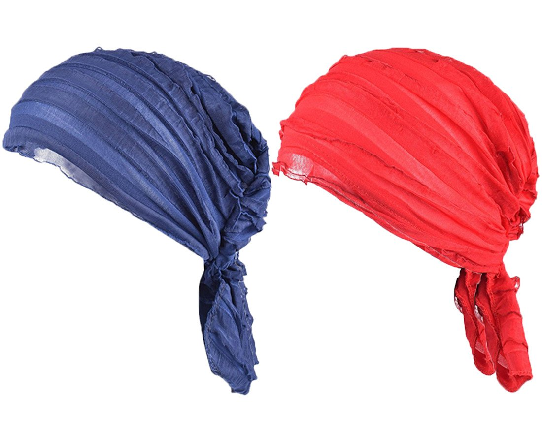 Staringirl Women 2 Pack Ruffle Chemo Hat Beanie Head Scarf Hair Coverings Turban Headwear For Cancer Patients (Color#3)