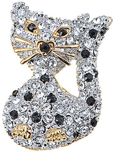 Alilang Swarovski Crystal Elements Heart Gold Accent Nose Kitty Cat Fashion Pin Brooch