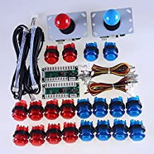 Easyget LED Arcade DIY Parts 2x Zero Delay USB Encoder + 2x 8 Way Joystick + 20x LED Illuminated Push Buttons for Mame Jamma Arcade Project Red + Blue Kits …