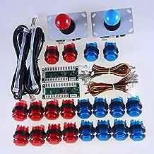 Easyget LED Arcade DIY Parts 2x Zero Delay USB Encoder + 2x 8 Way Joystick + 20x LED Illuminated Push Buttons for Mame Jamma Arcade Project Red + Blue Kits …