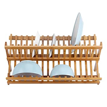 Escurreplatos de bambú plegable de dos niveles a00051b25e9d