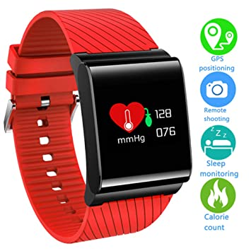 LIGE Fitness Trackers Impermeable Reloj Inteligente con Monitor de Ritmo cardíaco,Monitor de presión Arterial,OLED Pantalla de Color Rastreador de Actividad ...