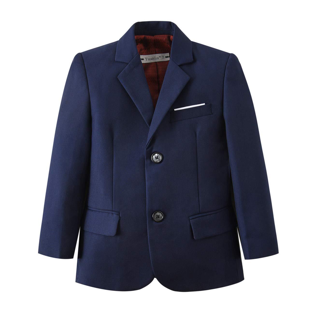 YuanLu Toddlers Boys Blazer Sport Coat for Kids Navy Blue Size 2T