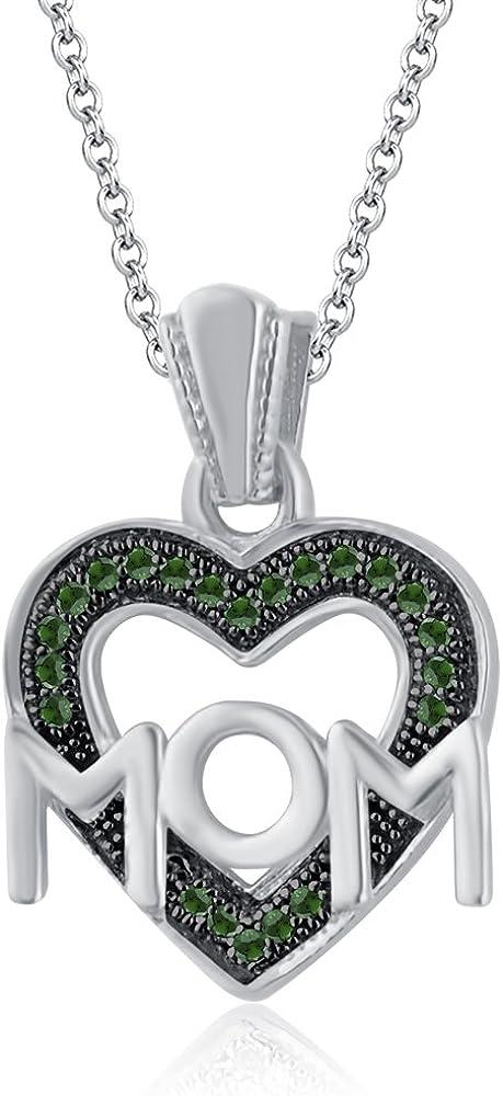 Silvernshine Jewels Love Heart Mum Mom - Colgante de cadena con colgante de imitación verde granate regalo para el día de la madre