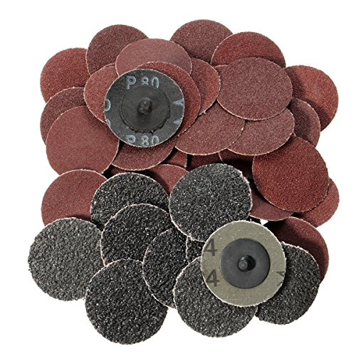 Jeteven 2 Inch Roll Lock Sanding Discs Surface Conditioning Grinding Discs 24/60/80/120 Mixed Grit Abrasive Paper Sandpaper for Disc Pad Holder Rotary Tools 40 PCS