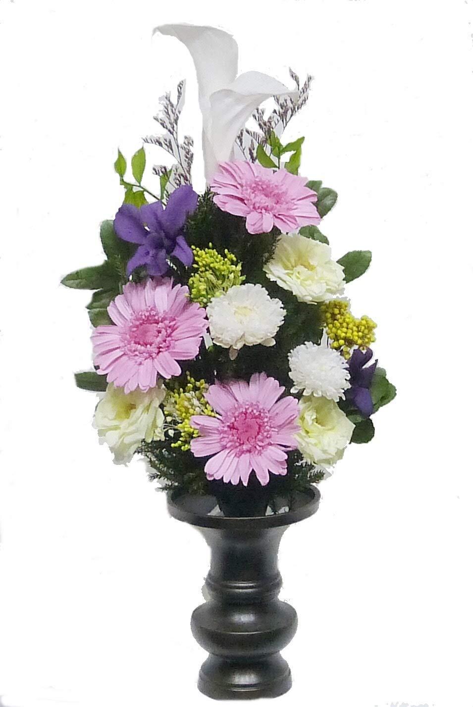 【仏花倶楽部®】のプリザーブドフラワー仏花:B01GOB3HIK 【size M】(お花はもちろん、葉っぱにいたるまで、造花は一切使用しておりません)) B01GOB3HIK