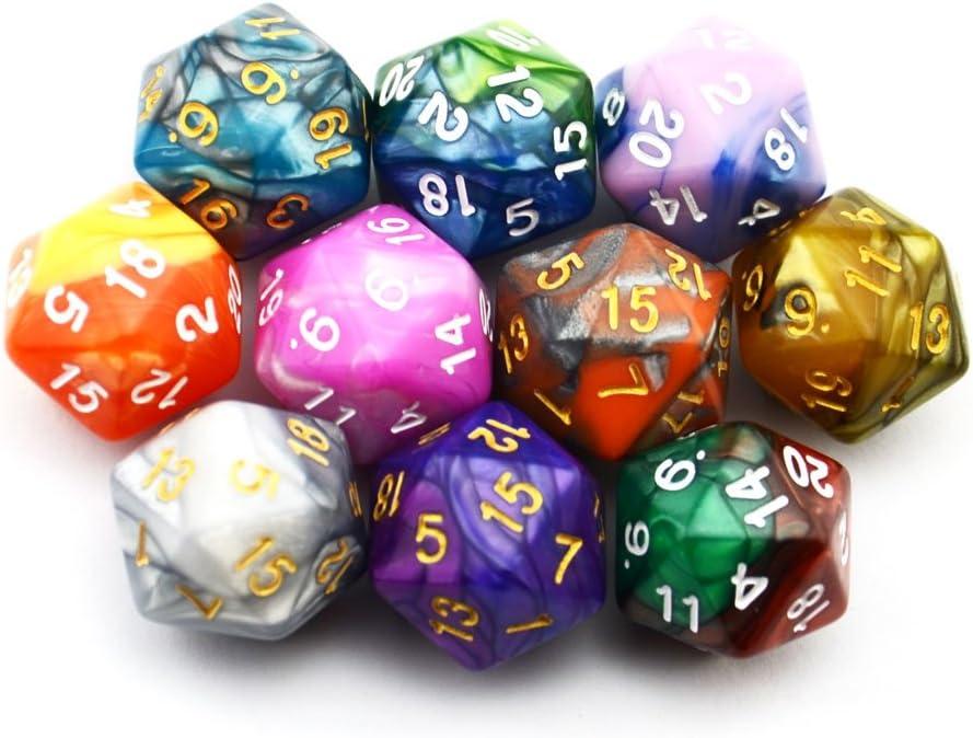 SmartDealsPro Dados poliédricos D20 de Dos Colores, Paquete de 10 Unidades para Juegos de Mesa DND RPG MTG: Amazon.es: Juguetes y juegos