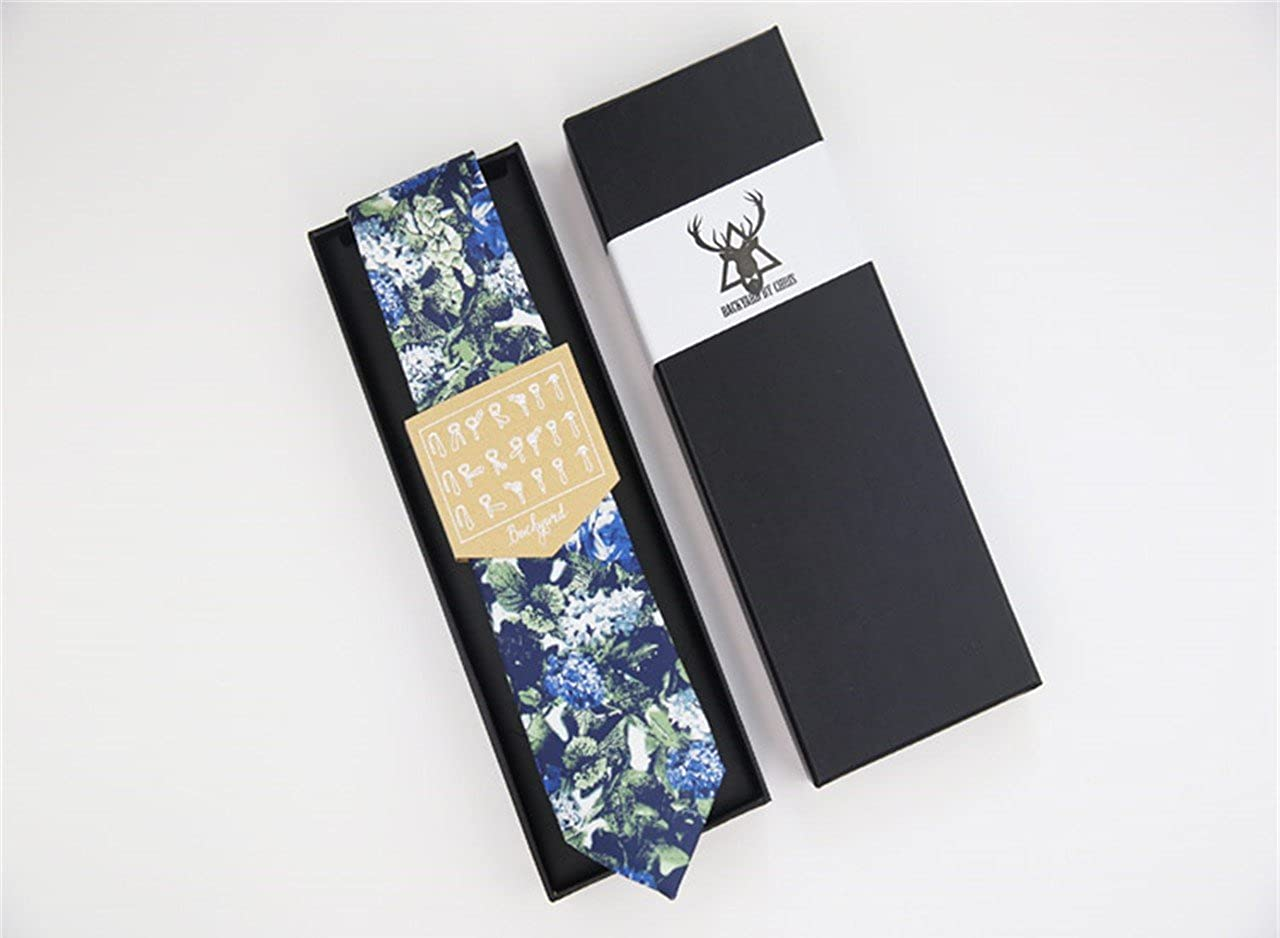 HXCMAN 7cm blue flower floral trend cool fashion classic design men wool tie necktie all-match party business evening wedding groom in gift box