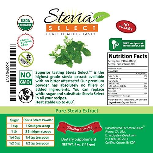 Organic Stevia powder-Pure Stevia Extract-Stevia Select 4 oz. Bulk Stevia-Perfect Sugar Substitute Extracted From Sweet Leaf of Stevia-Great Taste Guaranteed by Stevia Select (Image #2)