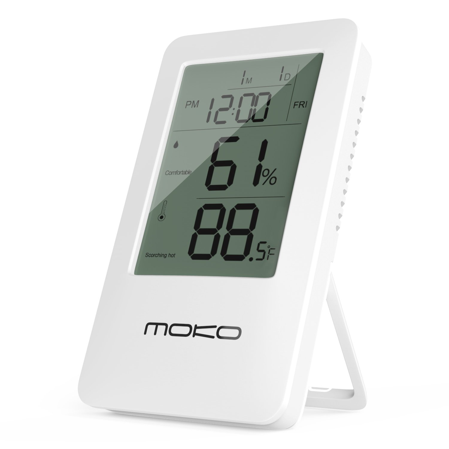 MoKo Multifunctional 2-in-1 Wireless Indoor Temperature Meter Humidity Monitor Sensor Electronic LCD Screen with Time Display and Built-in Backlight Alarm Clock Digital Hygrometer Thermometer WHITE