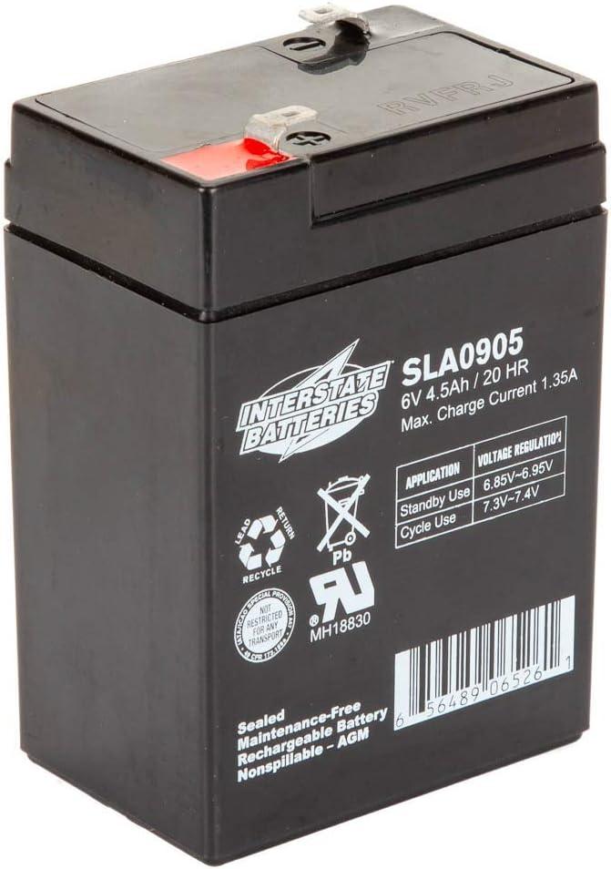 Interstate Batteries 6V 4.5AH Sealed Lead Acid (SLA) Battery (AGM) - .187 FASTON Spade Terminals (SLA0905) Genuine Interstate Batteries