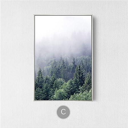 zxddzl Misty Forest Mountain Lienzo Pintura Niebla Wild Tree ...