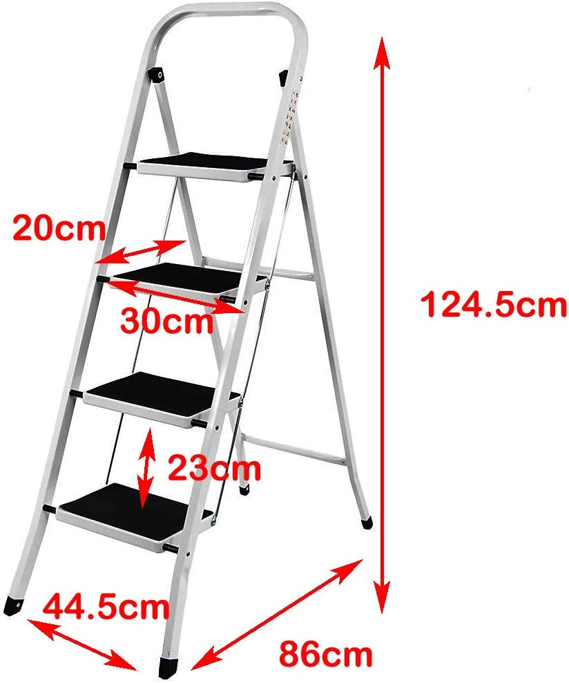 Heavy Duty 4 Step Stool Anti Slip Foldable Home Kitchen Garage Office Step Ladder Max Up to 330lbs Capacity Multi Purpose Folding Ladders