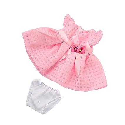 MagiDeal Vestido Falda Traje Rosa sin Mangas Flor con Ropa Interior para Muñeca Chica Americana 18