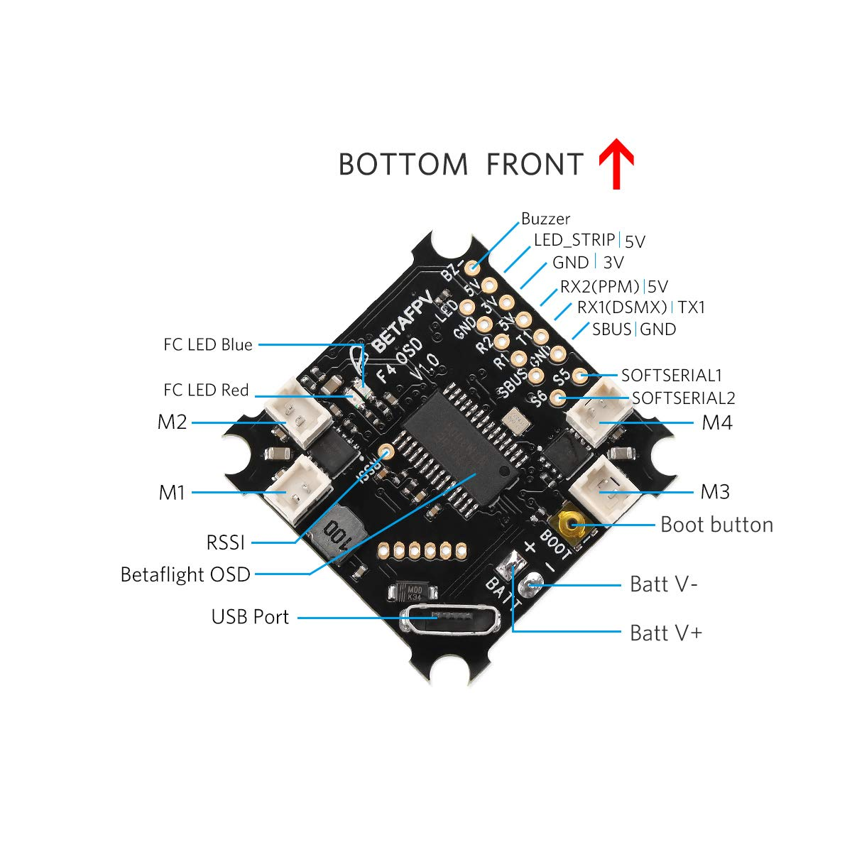 BETAFPV F4 FC Brushed Flight Controller with OSD Smart Audio (No Receiver)  for Tiny Whoop FPV Micro Racing Drone Blade Inductrix