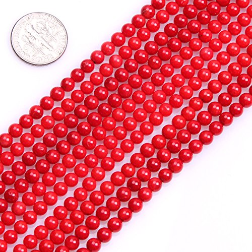 GEM-inside Coral Stone Loose Beads Dyed 4mm Round Red Crystal Energy Stone Healing Power for Jewelry Making 15