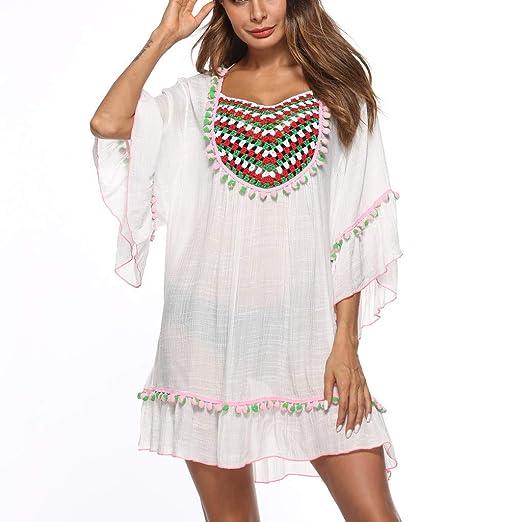 39745215fa5b2 yijiamaoyiyouxia swimwear Womens Cover up Bohemia Tassel Swimsuit Beachwear  Kimono Bikini Dress Boho Style (White