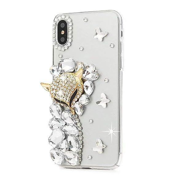 buy popular 3ca58 d3426 iPhone Xr Case,iPhone Xr Diamond Case,Girls Luxury Bling Glitter Crystal  Rhinestone Shining Gem Fox Head Protective Phone Cover Case for iPhone Xr  ...