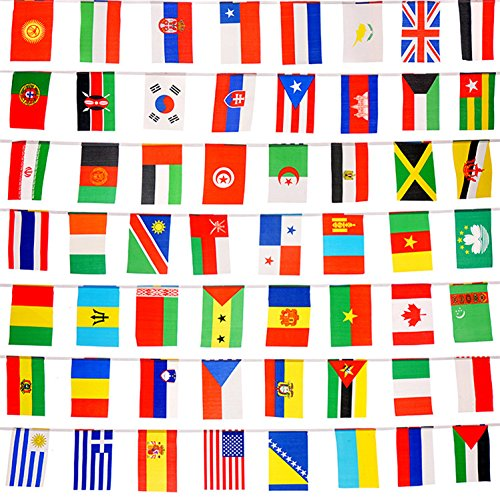 International Country String Flags,PortableFun 50 Countries Flags Pennant Banner For Grand Opening,Olympics,Bar,Party Decorations,Sports Clubs,Restaurants,Festival,etc - 41 Feet 8.2''x5.5''(LxW)