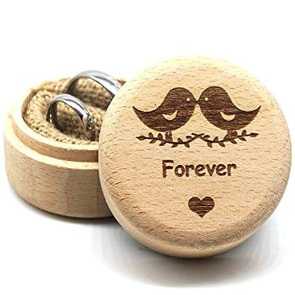 Caja de Anillos de boda, anillos de madera diseño caja, San Valentín soporte de