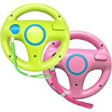 Jadebones 2 Pack Racing Steering Wheel with Wrist Strap for Wii and Wii U Remote Controller (Pink+Green)