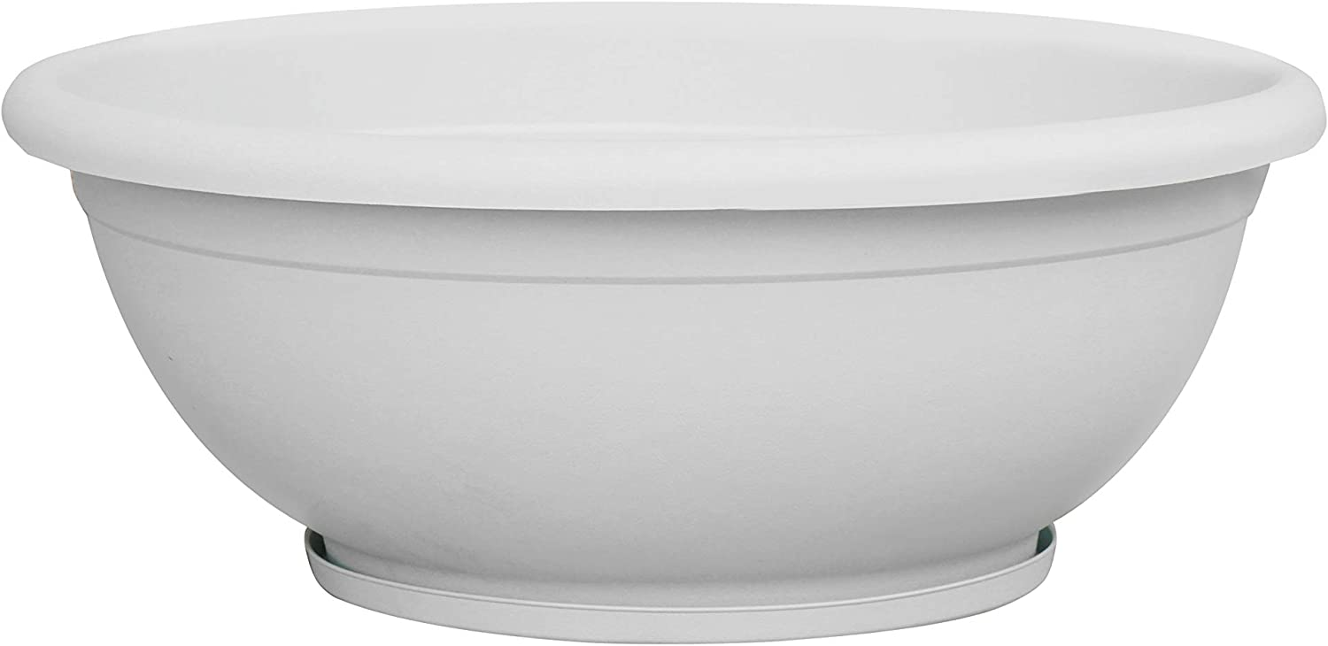 "TABOR TOOLS Plastic Planter Bowl, Garden Bowl for Indoor and Outdoor Use, Round. VEN301A. (12"", White)"