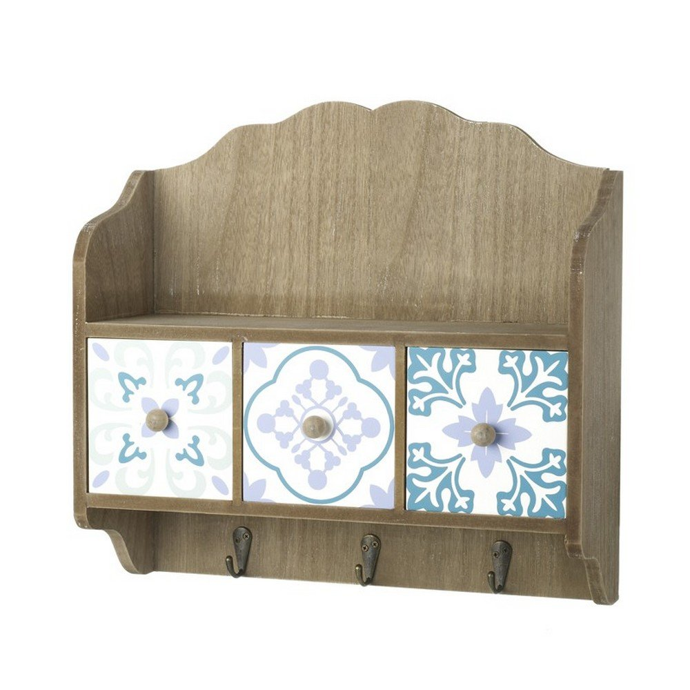 Heaven Sends Wall Hooks With 3 Patterned Drawers (13x5x12.5in) (Brown)