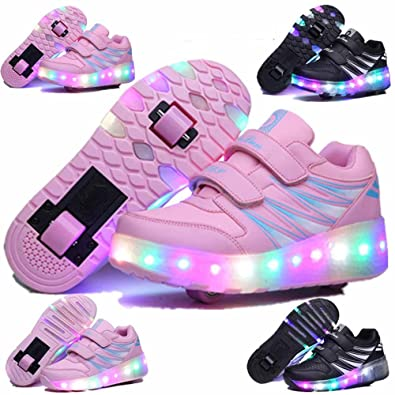 kaman Kids Boys Large Size LED Roller Skate Shoes Girls Single Wheel Light  Up Sneakers ( aa0aa1ed7