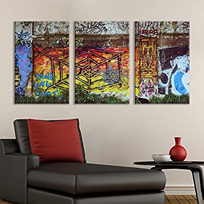 3 Panel Canvas Wall Art - Triptych Street Graffiti Series - Web - Giclee Print Gallery Wrap Modern Home Art Ready to Hang - 16