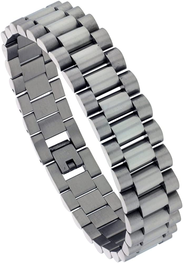 Sabrina Silver Stainless Steel Rolex Style Bracelet for Men, 5/8 inch Wide, 8.5 inch