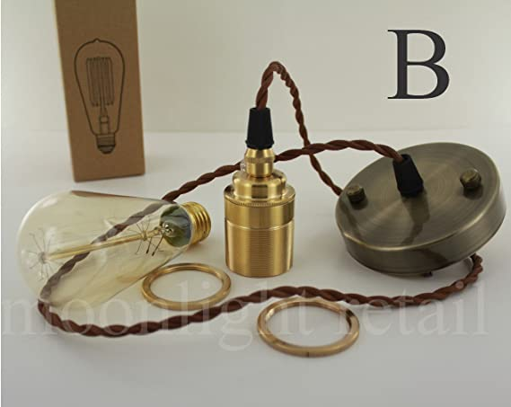 Embellecedor para aplique de lámpara Art Deco Vintage Edison E27 de tornillo bombilla juego completo incluye