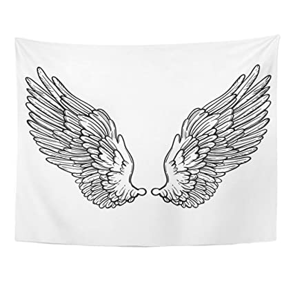 """9af67bcc4 Semtomn 50""""x 60"""" Tapestry Mandala Wall Hanging Line of Angel Wings  Sketch for"""