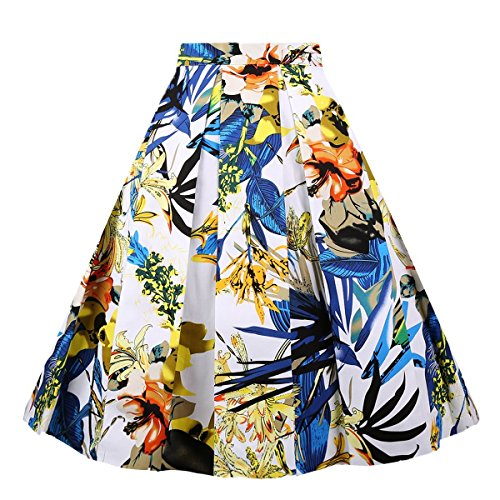 Girstunm Women's Pleated Vintage Skirt Floral Print A-line Midi Skirts with Pockets Blue-Yellow Flowers M-New