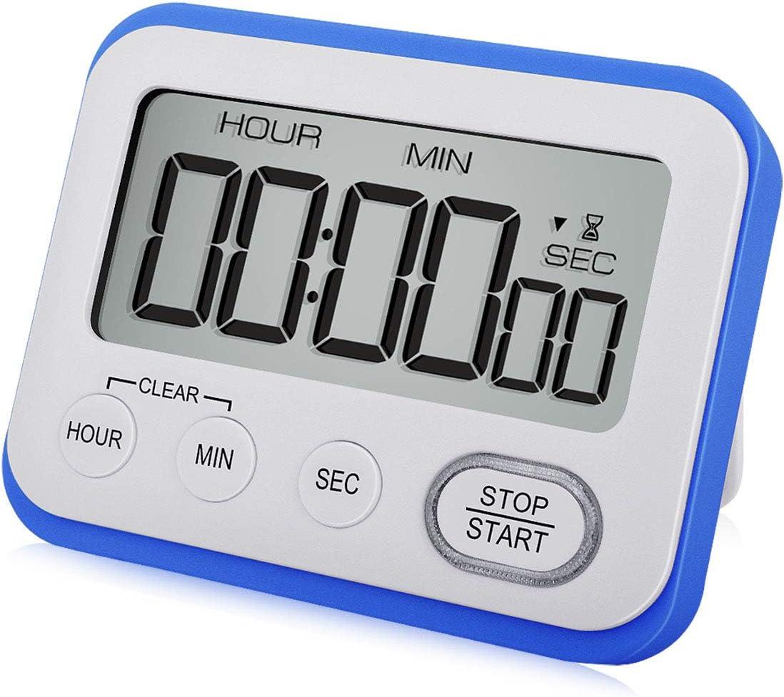 Digital Kitchen Timer Magnetic Loud Alarm Clock, Large LCD Screen Silent/Beeping Multi-function for Teachers Kids, Blue