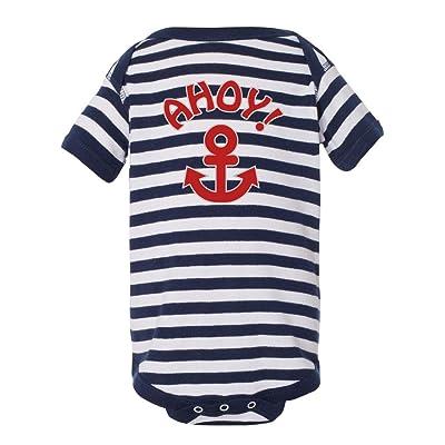 Gina Lou Unisex-Baby Ahoy Anchor Onesie