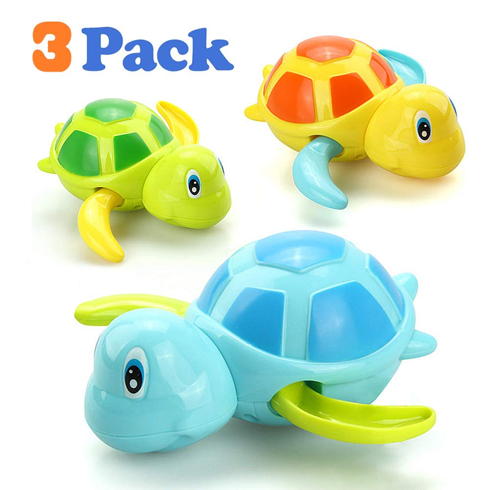VCOSTORE Wind Up Bath Toys for Toddlers, Cute Swimming Turtle Baby Bathtub Floating Water Bathing Fun Toys 3pcs