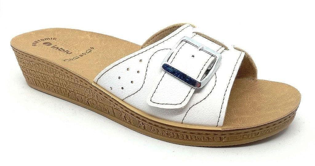 INBLU Ciabatte Pantofole Aperte Donna MOD. DI-58 Fibbia Bianco Linea Benessere  -