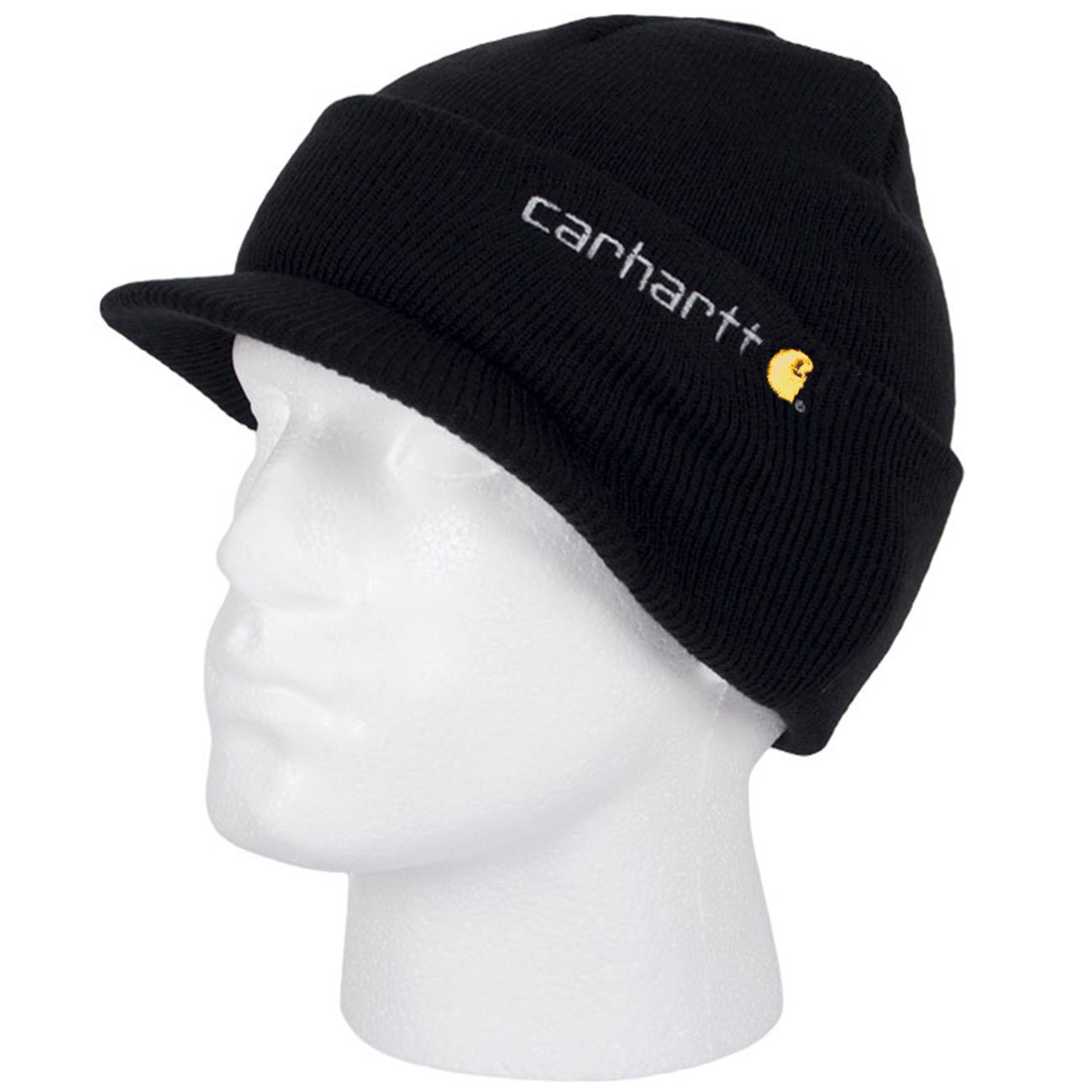 Carhartt Winter Hat with Visor - Black CHA164BLK Mens Beanie with peak Hat  CHA164BLK-Universal  Amazon.co.uk  Clothing 5af24b2b0a8