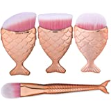 Makeup Brushes Set, LHEI Fish Scale Makeup Brush Fishtail Bottom Brush Powder Blush Makeup Cosmetic Brushes Tool (4pcs Rose Gold)