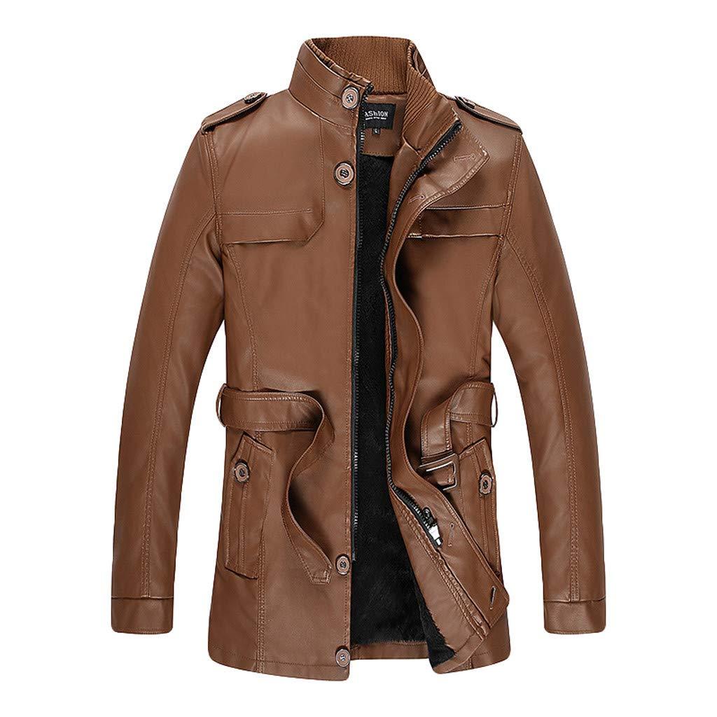 Leather Jacket for Men's Autumn Winter Warm Trenchcoat Stylish Slim Fit Mid Long Belted Windbreaker Trench Coat (Khaki, L) by Meiliwanju