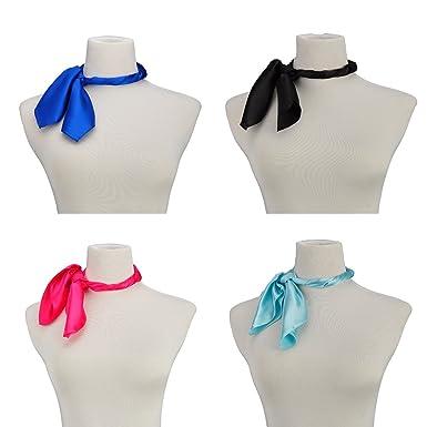 Écharpe carrée en soie écharpes de mode féminine légère petite couleur unie  22 dans (4 6c469a25a54