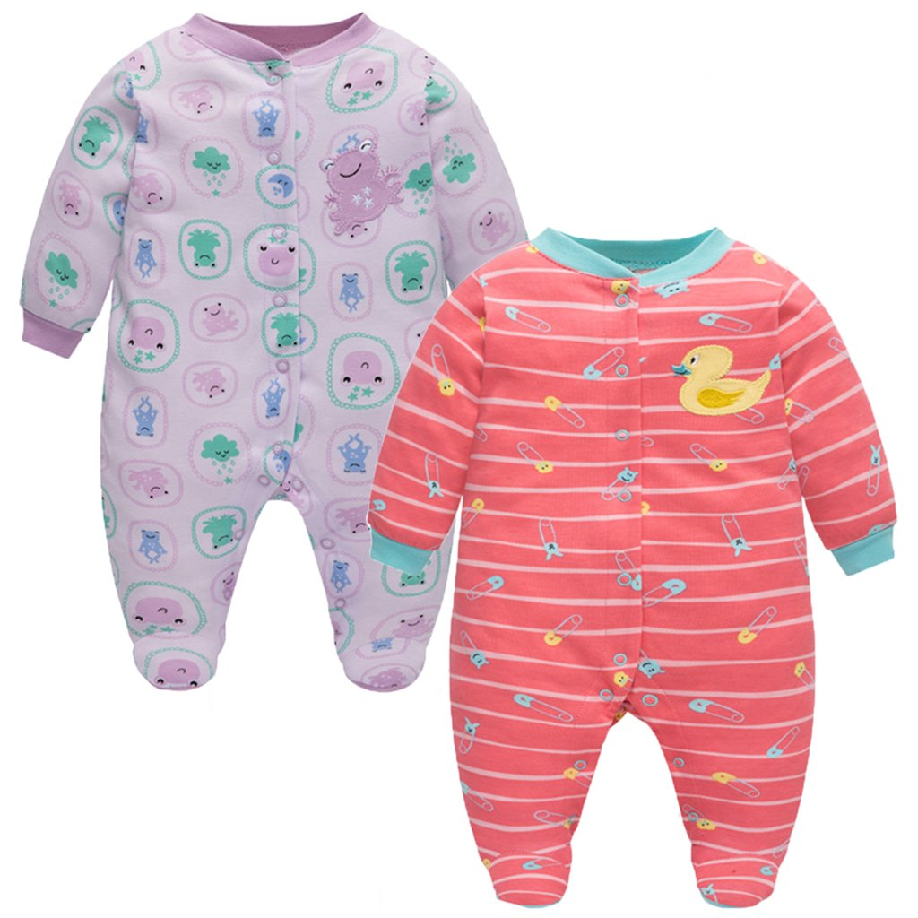 JiAmy Baby Cotton Sleepsuit, 2-Pack Long Sleeve Footies Boys Girls Rompers Front Open Ltd