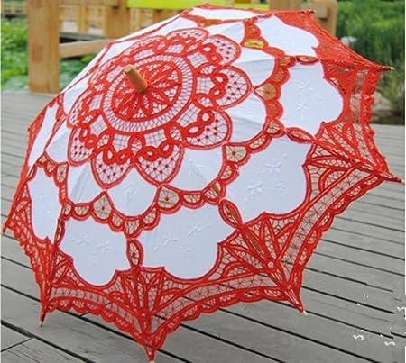 Mttheaw Ombrellone di pizzo vittoriano parasole per decorazione di nozze(bianca)