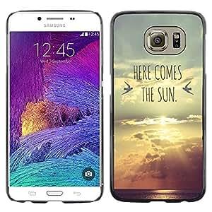Here Comes The Band Letras Sunset Sun - Metal de aluminio y de plástico duro Caja del teléfono - Negro - Samsung Galaxy S6