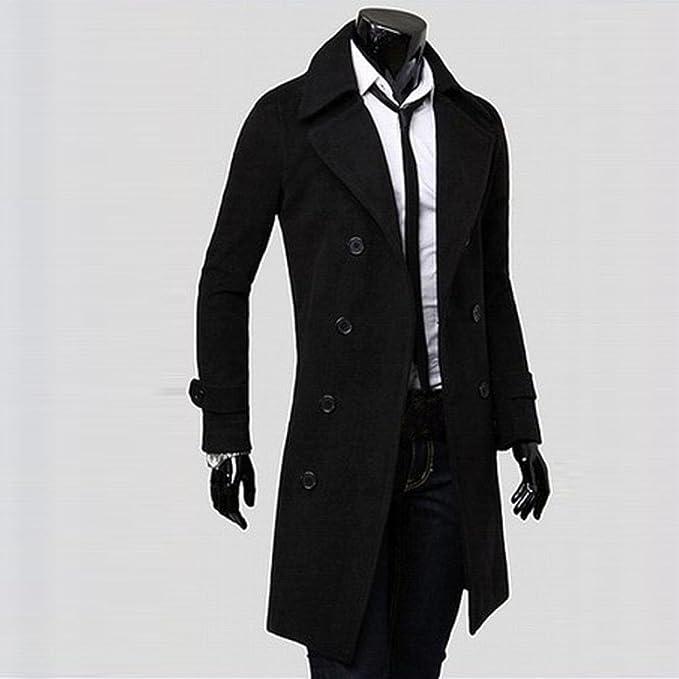 Abrigo Parka para Hombre, Amlaiworld Hombres invierno Slim Trench largo abrigo Chaqueta doble botonadura parka