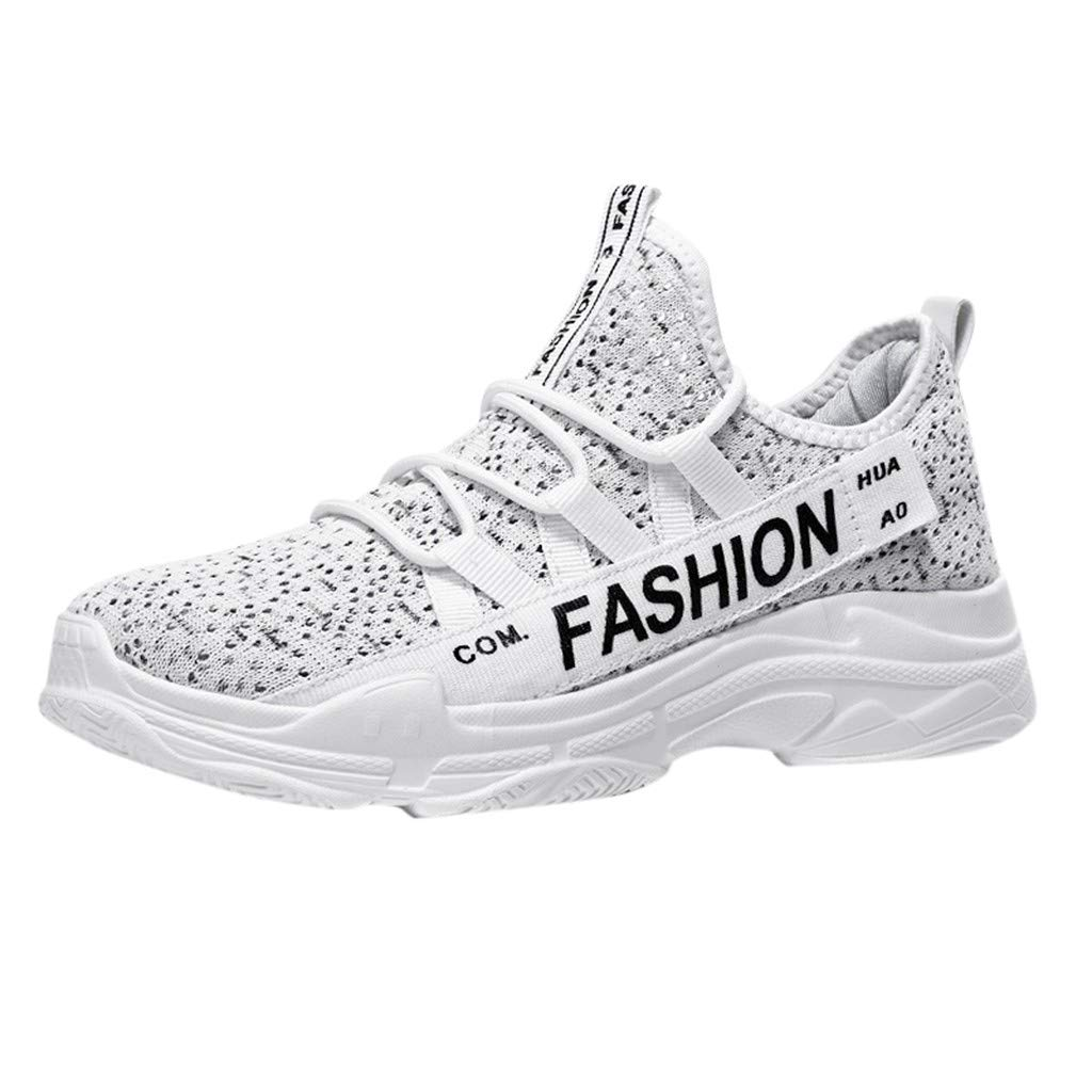 Men's Breathable Knit Sneakers - Stylish Athletic-Inspired Walking Shoes Outdoors Summer Running Trainning Tennis Shoe (White, US:5.5)