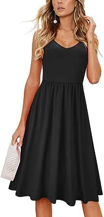 OUGES Vestido de verano, espalda descubierta, correa de espagueti ajustable, vestido de verano floral con lazo