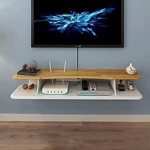 SjYsXm-Floating shelf Estante Soporte para TV Flotante de Audio/Video Soporte de TV en la Pared Soporte de componentes para Cajas de Cable Enrutadores Remotos Reproductores de DVD (Tamaño : 90cm): Amazon.es: Hogar
