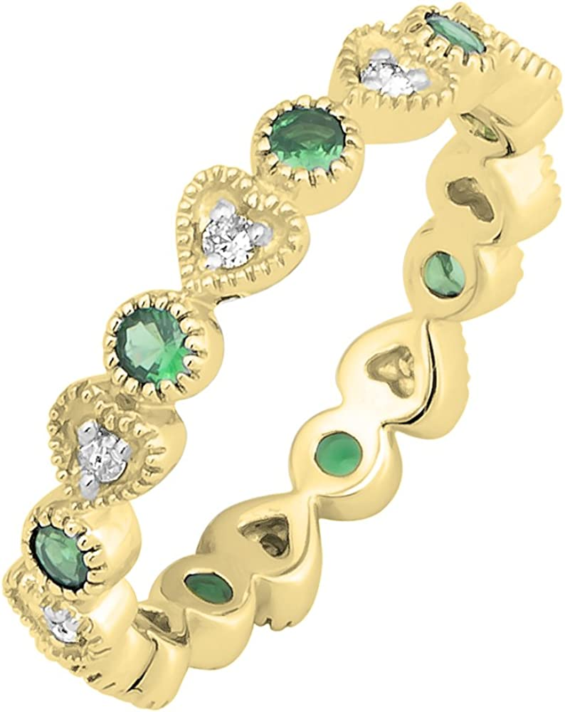 DazzlingRock Collection Anillo apilable de Oro Amarillo de 14 K con Diamantes Blancos y Esmeralda Redondos, Estilo Vintage, para Boda