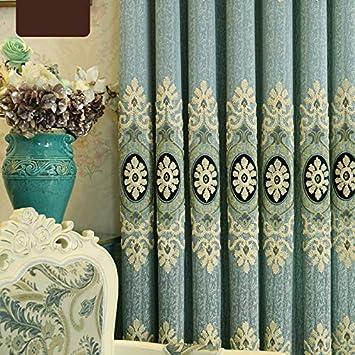 adaada 2er-Set Chenille Jacquard Luxus Vorh/änge f/ür Wohnzimmer Elegante Vorh/änge f/ür Schlafzimmer Blau T/üll Vorhang,245x140cm